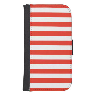 Coque Avec Portefeuille Pour Galaxy S4 Rayures rouges horizontales