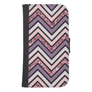 Coque Avec Portefeuille Pour Galaxy S4 Rose et blanc de lavande de Chevron