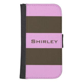 Coque Avec Portefeuille Pour Galaxy S4 Rose et rayures larges brun chocolat par STaylor