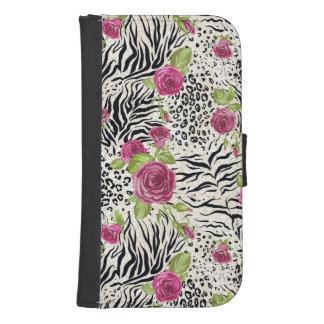 Coque Avec Portefeuille Pour Galaxy S4 Roses sur le motif animal