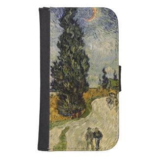 Coque Avec Portefeuille Pour Galaxy S4 Route de Vincent van Gogh   avec des cyprès, 1890