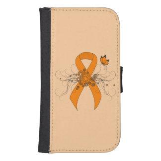 Coque Avec Portefeuille Pour Galaxy S4 Ruban orange avec le papillon