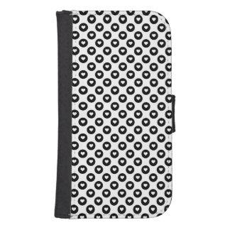 Coque Avec Portefeuille Pour Galaxy S4 Taches noires et blanches de coeur de Valentines