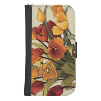 Coque Avec Portefeuille Pour Galaxy S4 Temps de tulipe