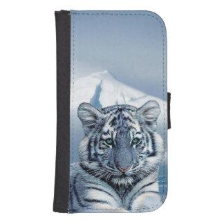 Coque Avec Portefeuille Pour Galaxy S4 Tigre blanc bleu