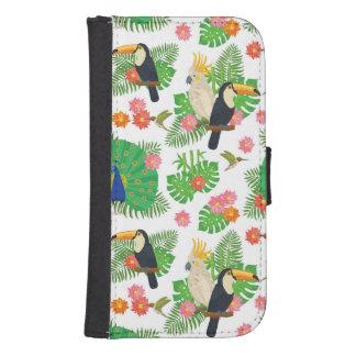 Coque Avec Portefeuille Pour Galaxy S4 Tucan et motif de paon