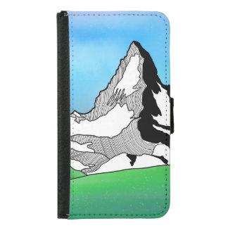Coque Avec Portefeuille Pour Galaxy S5 Aquarelle Matterhorn Suisse de schéma