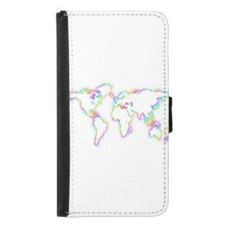 Coque Avec Portefeuille Pour Galaxy S5 Carte colorée du monde