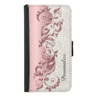Coque Avec Portefeuille Pour Galaxy S5 Confettis blancs métalliques de rose fleuri floral