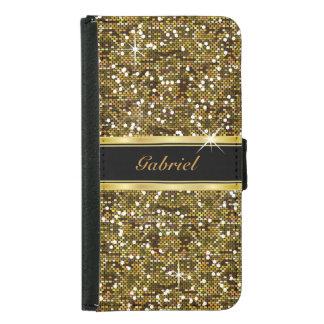 Coque Avec Portefeuille Pour Galaxy S5 Copie de confettis de parties scintillantes d'or
