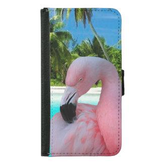 Coque Avec Portefeuille Pour Galaxy S5 Flamant et plage