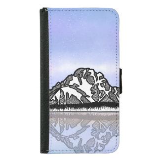 Coque Avec Portefeuille Pour Galaxy S5 Illustration de montagne de Moran de bâti