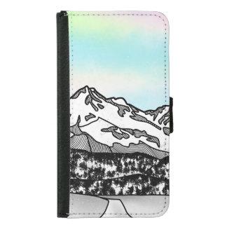 Coque Avec Portefeuille Pour Galaxy S5 Illustration de paysage de Shasta de bâti