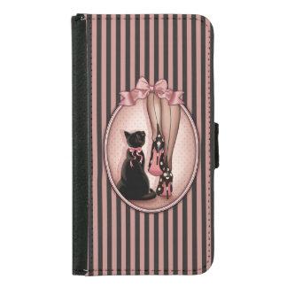 Coque Avec Portefeuille Pour Galaxy S5 Jeune femme élégante et chat noir