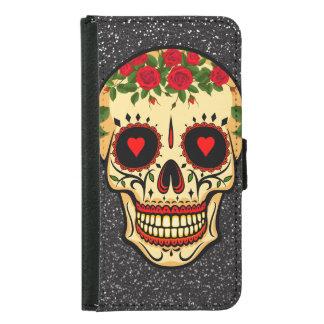 Coque Avec Portefeuille Pour Galaxy S5 Jour des coeurs et des fleurs morts de crâne de