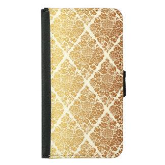 Coque Avec Portefeuille Pour Galaxy S5 Le cru, or, damassé, florale, motif, élégant,