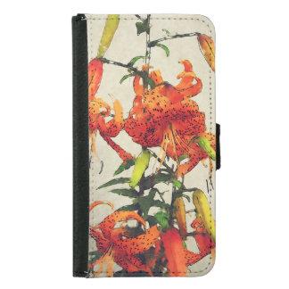 Coque Avec Portefeuille Pour Galaxy S5 Lis tigré orange 1 d'aquarelle