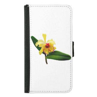 Coque Avec Portefeuille Pour Galaxy S5 Orchidée jaune inclinée par rose