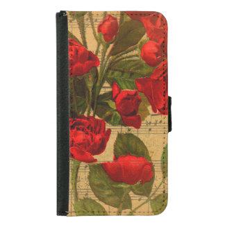 Coque Avec Portefeuille Pour Galaxy S5 Papier peint rose de musique d'aquarelle