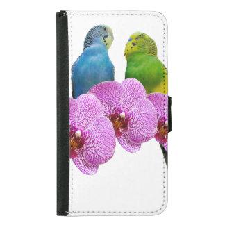 Coque Avec Portefeuille Pour Galaxy S5 Perruche avec l'orchidée pourpre