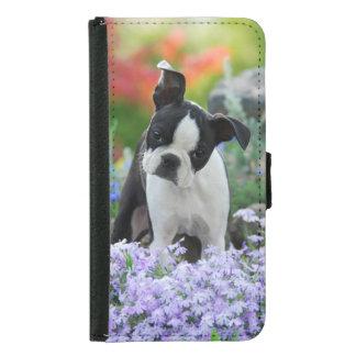 Coque Avec Portefeuille Pour Galaxy S5 Photo animale de Boston Terrier de chiot mignon de