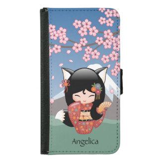 Coque Avec Portefeuille Pour Galaxy S5 Poupée de Kitsune Kokeshi - fille de geisha de Fox
