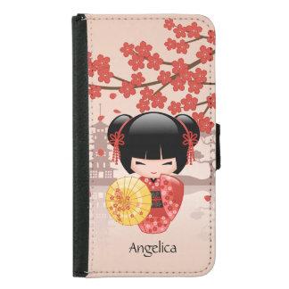 Coque Avec Portefeuille Pour Galaxy S5 Poupée rouge de Sakura Kokeshi - geisha japonais