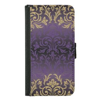 Coque Avec Portefeuille Pour Galaxy S5 pourpre, ultra-violet, damassé, cru, motif, or, ch