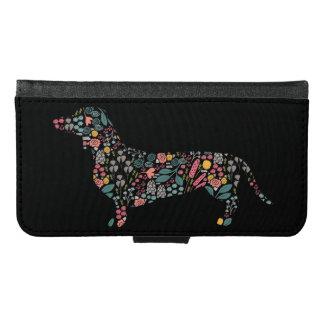 Coque Avec Portefeuille Pour Galaxy S6 Art floral d'aquarelle de motif de chien de