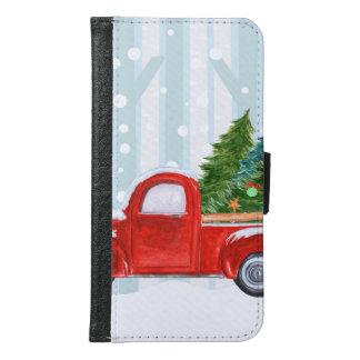 Coque Avec Portefeuille Pour Galaxy S6 Camion pick-up rouge de Noël sur une route de