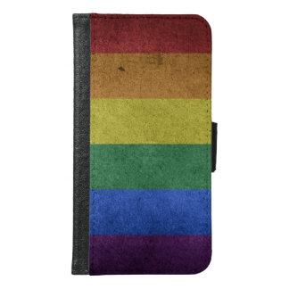 Coque Avec Portefeuille Pour Galaxy S6 Drapeau grunge d'arc-en-ciel de LGBT