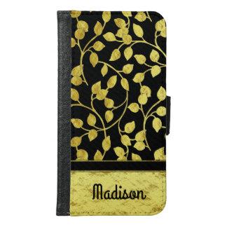 Coque Avec Portefeuille Pour Galaxy S6 Feuille botanique de feuille d'or de Faux, vignes,