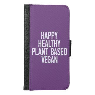 Coque Avec Portefeuille Pour Galaxy S6 Le plante sain heureux a basé le végétalien