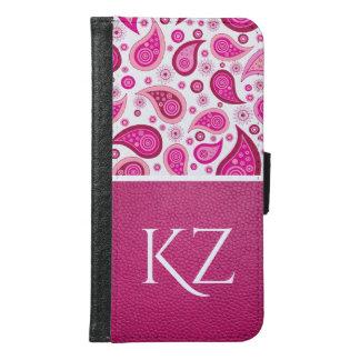 Coque Avec Portefeuille Pour Galaxy S6 Paisley et cuir assez roses w/Monogram