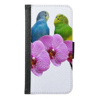 Coque Avec Portefeuille Pour Galaxy S6 Perruche avec l'orchidée pourpre