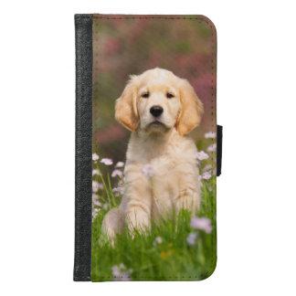 Coque Avec Portefeuille Pour Galaxy S6 Photo animale de chiot mignon de chien de golden