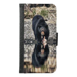 Coque Avec Portefeuille Pour Galaxy S6 Réflexions d'ours noir