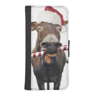Coque Avec Portefeuille Pour iPhone 5 Âne de Noël - âne de père Noël - âne père Noël