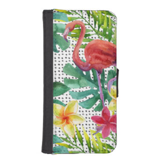 Coque Avec Portefeuille Pour iPhone 5 Aquarelle tropicale