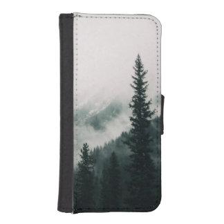 Coque Avec Portefeuille Pour iPhone 5 Au-dessus des montagnes et de la cuvette les bois