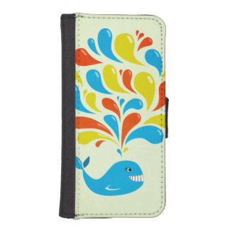 Coque Avec Portefeuille Pour iPhone 5 Baleine heureuse de bande dessinée d'éclaboussure
