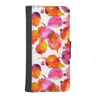 Coque Avec Portefeuille Pour iPhone 5 Beau motif de feuille d'automne d'aquarelle