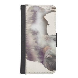 Coque Avec Portefeuille Pour iPhone 5 Buffle-double buffle-paysage exposition-américain