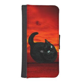 Coque Avec Portefeuille Pour iPhone 5 Chat et ciel rouge