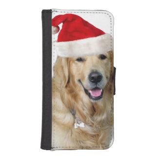 Coque Avec Portefeuille Pour iPhone 5 Chien-animal familier de Labrador Noël-père Noël