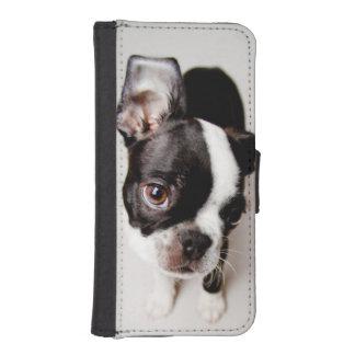 Coque Avec Portefeuille Pour iPhone 5 Chiot d'Edison Boston Terrier