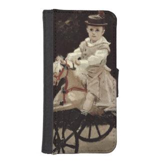 Coque Avec Portefeuille Pour iPhone 5 Claude Monet | Jean Monet sur son cheval de