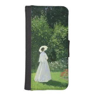 Coque Avec Portefeuille Pour iPhone 5 Claude Monet | Jeanne Marie Lecadre dans le jardin