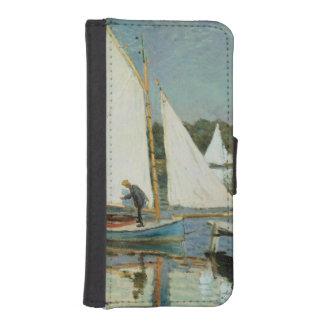 Coque Avec Portefeuille Pour iPhone 5 Claude Monet | naviguant à Argenteuil, c.1874