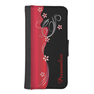 Coque Avec Portefeuille Pour iPhone 5 Conception rouge-foncé fleurie florale